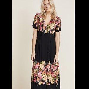 Free People Floral Side Button V Neckline Dress L